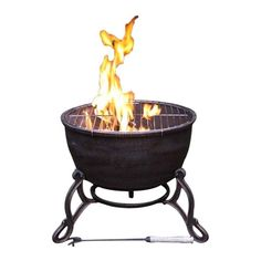 the elidir cast iron fire bowl is a great fire pit that comes with a grill