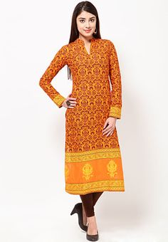 Orange coloured, printed kurta for women by Folklore. Crafted from cotton, this knee-length kurta has full sleeves and a mandarin collar. It comes in regular fit. In Just Rs. 1199