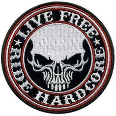 """Patch écusson Biker Skull """"Live Free"""" pour blouson et veste Hells-Design http://www.amazon.fr/dp/B019ZJPD2Q/ref=cm_sw_r_pi_dp_lGr9wb1TVB062"""