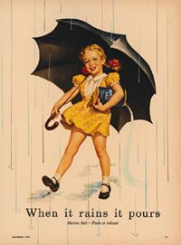 Color photography & Consumerism.            In 1914, the Morton Salt Umbrella Girl & slogan ran for the first time in Good Housekeeping magazine. Pictured here circa 1941 color photography helps rouse consumerism with its vivid images (Morton Salt, Inc). Morton Salt, Inc. (n.d.). Morton Salt. Retrieved from History of the Morton Salt Girl: http://www.mortonsalt.com/our-history/history-of-the-morton-salt-girl