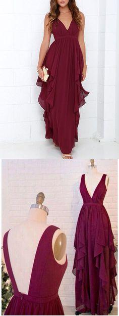 2017 prom dress, long prom dress, burgundy prom dress, 2017 bridesmaid dress, long burgundy chiffon bridesmaid dress