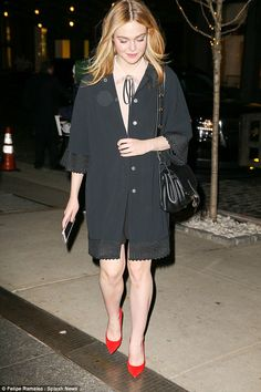 Must be freezing: Elle Fanning was spotted baring her legs in New York City on Wednesday despite the cold weather