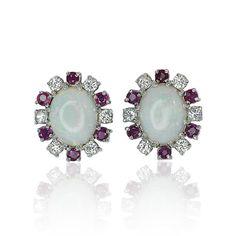 Earring with Rubies Diamonds Opal   Opal-Rubin-Diamant Ohrstecker mit ovalen Opalen und 0,505ct Rubin 0,502ct Diamant Karmoisierung in Weissgold