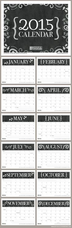 Get organized with this handy chalkboard style FREE printable calendar for 2015.