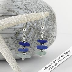 Shades of the Sea & Sterling Sea Glass Sea Stack Earrings