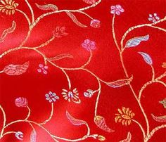 RED CHINESE BROCADE TAPESTRY FABRIC