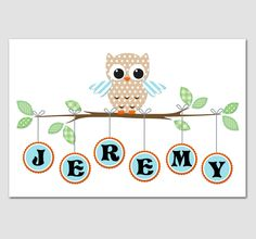 Nursery Art Owl Print BANGLES 12x18 Personalized with your name. $22.00, via Etsy. @Michelle Baker