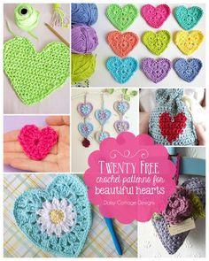 20 Free Heart Crochet Patterns - Daisy Cottage Designs