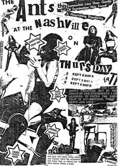 The Ants at the Nashville (but not in Nashville) - Adam and the Ants, UK, 1977. Design: Adam Ant. Source: The Art of Punk via http://observatory.designobserver.com