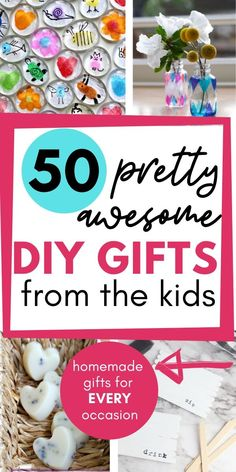50 Pretty Awesome Homemade Gifts Kids Can Make (for Every Occasion) - Homemade Gift For Grandma, Handmade Gifts For Grandma, Homemade Teacher Gifts, Great Grandma Gifts, Diy Gifts For Dad, Homemade Gifts For Friends, Diy Father's Day Gifts, Nana Gifts, Diy Birthday Gifts For Mom