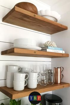 If you are looking for saving storage for your small kitchen that consumes only a little space, floating kitchen shelves will suit your needs. kitchen floating shelves | kitchen floating shelves decor | kitchen floating shelves wood | kitchen floating shelves diy | kitchen floating shelves and cabinets | kitchen floating shelves decor ideas | kitchen floating shelves modern | kitchen floating shelves white | #decor #wood #farmhouse #white #small Industrial Floating Shelves, Floating Shelf Decor, Floating Shelves Kitchen, Rustic Floating Shelves, Farmhouse Style Kitchen, Rustic Kitchen, Diy Kitchen, Kitchen Decor, Stainless Steel Kitchen Shelves