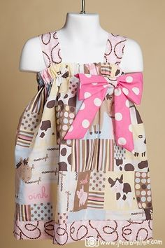 Girls Baby Farm Animals Dress with handmade bow sizes by SewSweetz