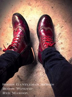 Boots Wingtip Red Maroon
