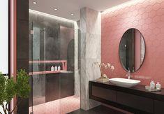 bathroom 2021 – Szukaj wGoogle Taupe Walls, Lilac Walls, White Walls, Black Room Decor, Black Rooms, Pink Bathrooms Designs, Best Bathroom Designs, Bathroom Ideas, Lilac Bathroom