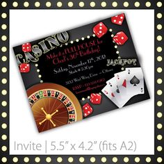 Casino Party Invitations . PRINTABLE . Casino Night. $8.00, via Etsy.