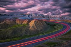 Tale of the Taillight. Twilight ambience at Badlands National Park, South Dakota.