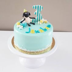 Mirror glaze mousse cake for boys birthday, Shaun the Sheep theme.