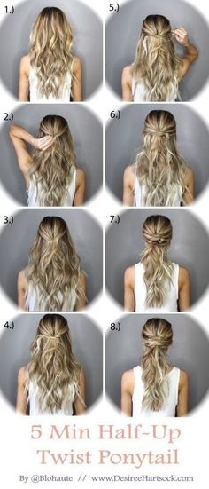 5 Minute Half Up Ponytail Twist hair long hair braids diy hair hairstyles hair tutorials easy hairstyles