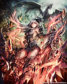 Anime picture 				1279x1600 with  		original 		anbe yoshirou 		long hair 		single 		tall image 		looking at viewer 		red eyes 		silver hair 		fire 		girl 		dress 		weapon 		hair ornament 		detached sleeves 		sword 		thigh boots 		dragon