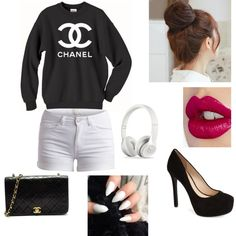 Chanel by khanhiba on Polyvore featuring polyvore, fashion, style, Pieces, Jessica Simpson, Charlotte Tilbury, Pin Show and Chanel