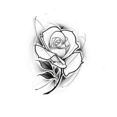 Skull Rose Tattoos, Flower Tattoos, Rose Sketch, Desenho Tattoo, Ink Illustrations, Tattoo Designs, Tattoo Ideas, Tattoo Sketches, Tattoo Studio