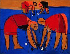 As mariscadoras, de Luis Seoane.  (Óleo sobre lenzo. 1969)  Museo de belas artes da Coruña