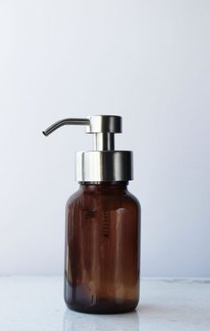 Amber Apothecary Glass Foam Soap Dispenser with Stainless Pump - Rail19