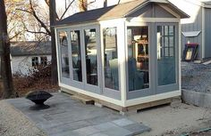 Built from 11 old doors.  They look pretty new, the builder must have refurbished them first.