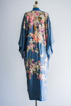 Antique Silk Kimono with Ornate Embroidery | shopgossamer.com