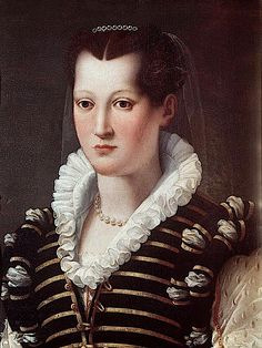 Isabella de' Medici by Alessandro Allori (Galleria degli Uffizi - Firenze Italy). Eleonora de Medici's under-sleeves are slashed many times in this Allori portrait showing a vest bodice held by gold buttons and loops. She may be wearing full or even puffed under-sleeves.
