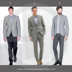 """El gris es uno de los tonos que destacará en este 2017, algunos lo describen como el nuevo """"negro"""" por su versatilidad y elegancia. Te comparto mis 3 recomendaciones perfectas para e trabajo o una ocasión especial. ¿Cuál es tu favorito? ¿1, 2 ó 3? #ModaMasculina"""