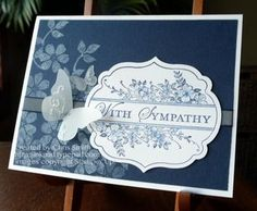 Four Frames sympathy card . white Bloomin Marvelous stamps stamped onto Night of Navy cs. Stampin' Up! Paper Cards, Art Cards, Cards Diy, Stamping Up Cards, Sympathy Cards, Greeting Cards, Get Well Cards, Butterfly Cards, Scrapbook Cards