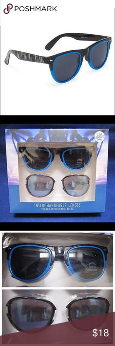 Aeropostale Fashion Sunglasses Classic Retro Look Aeropostale Fashion Sunglasses Classic Retro Look * Contents : 1 Frame & 2 Sets of Lenses * Frame Colors : Black & Blue * Lenses : Dark Tinted & Mirrored Coating * Material : Plastic * Features : Interchangeable Lenses / 100% UV Protection * Condition : New in factory sealed package.  The box shows minor shelf wear, please see the photos.  *****   THANK YOU!!!   ****** Aeropostale Accessories Sunglasses