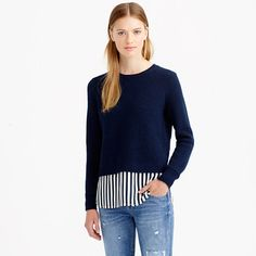 A two-for-one? Don't mind if we do. This cozy wool sweater has a silk shirttail hem because, you know, it's all about the mix (and nailing that whole layering thing without even thinking about it).<ul><li>Relaxed fit.</li><li>Hits slightly below hip.</li><li>Lambswool in a 7-gauge knit, silk shirttail.</li><li>Rib trim at neck and cuffs.</li><li>Dry clean.</li><li>Import.</li></ul>