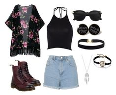 """""""GRUNGE"""" by periquitakim ❤ liked on Polyvore featuring Topshop, Dr. Martens, Lucky Brand and grunge"""