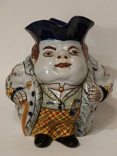 """French Antique Toby Jug Character Mug """"Fat Boy"""" About 7"""" Tall - Rare - Antique"""