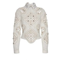 Peter Pilotto Tundra Blouse (99 695 UAH) ❤ liked on Polyvore featuring tops, blouses, chevron blouse, embroidered top, long sleeve blouse, white beaded top and embroidered blouse
