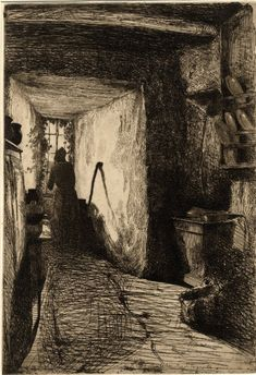 'The Kitchen' Etching by James McNeill Whistler Image and text courtesy Freer Gallery of Art and Arthur M. Gift of Charles Lang Freer. James Abbott Mcneill Whistler, Drypoint Etching, Freer Gallery, Etching Prints, Collagraph, Guache, Vintage Wall Art, American Artists, Printmaking