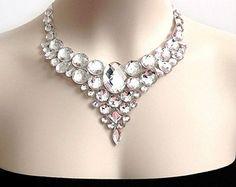 Clear AB Rhinestone Bib Necklace Crystal AB by SparkleBeastDesign