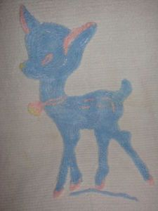 Vintage 1950's Chenille Baby Bedspread/Coverlet-Blue/Pink Deer Bambi on White