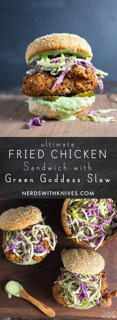 Ultimate Fried Chicken Sandwich With Basil Green Goddess Slaw