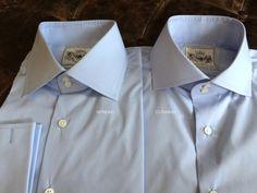 Solid Light Blue Tailored Executive Shirt High Collar Shirts, Savile Row, Cutaway, Chef Jackets, Light Blue, Shirt Dress, Suits, Mens Tops, Fashion