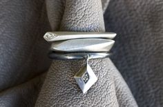 'Facet Stackers' sterling silver with champagne diamond detail by, Melanie Clarke