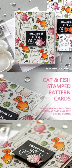 Cat & Fish Stamped Pattern Cards Using Simon Says Stamp Christmas Cats and Best Fishes Stamps. To learn more and watch video tutorial, please visit my blog http://www.yanasmakula.com/?p=56542