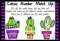 Students will enjoy this playing with game, while improving their number sense. To prepare the game, cut out the cactus cards and then along the dotted lines. Lay the cards out. Students look for different number representations and match them up to make a cactus.