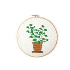 Hand embroidery kit beginner Modern DIY Embroidery Plant Handcraft Needlework Cross Stitch Kit Cotton Embroidery Painting Hoop Home Decor Hand Embroidery Art, Embroidery Materials, Embroidery Needles, Embroidery Patterns, Cross Stitch Fabric, Cross Stitch Embroidery, Diy Craft Projects, Printing On Fabric, Needlework