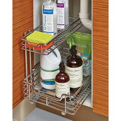 Chrome 2-Tier Sliding Organizer (will it work around the garbage disposal?) Containerstore.com