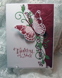 Using glitter inlay technique with Memory Box butterfly die.