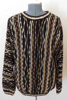 Tundra Mens Sweater Size Medium 3D Cosby Style Black Brown Tan Canada #Tundra #Crewneck