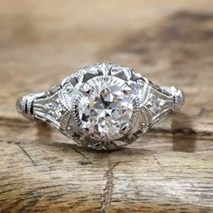 """Whitehouse Brothers """"Edwardian Blossom"""" #8139 vintage engagement ring with filigree details."""